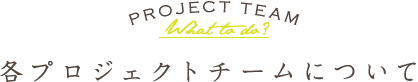 PROJECT TEAM What to do? 各プロジェクトチームについて